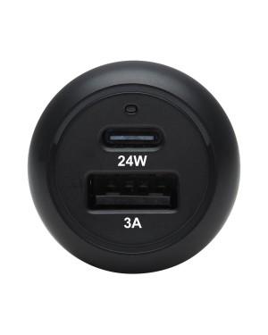 Cargador para Automóvil USB 2 Puertos con Carga PD 24W TrippLite, USB-C y USB-A, Negro (U280-C02-24W-1B)