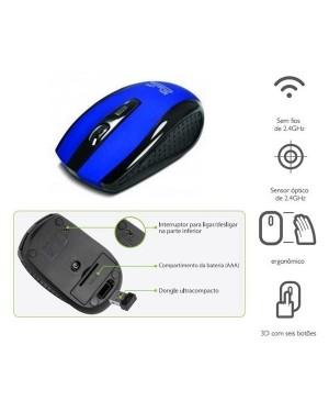 KlipX Mouse Inalambrico 3D De 6 Botones 2,4Ghz Usb Nano Azul - (KMW-340BL)